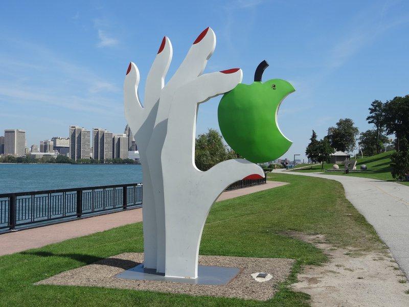Windsor sculpture park green apple hand downtown