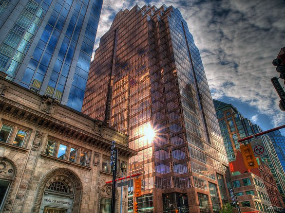 Toronto Downtown Skyscraper Business Sunrise Reflection Rentals
