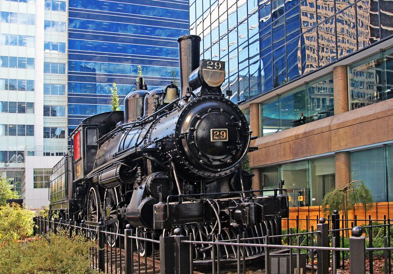 Calgary railroad train display colourful colorful downtown city.jpg