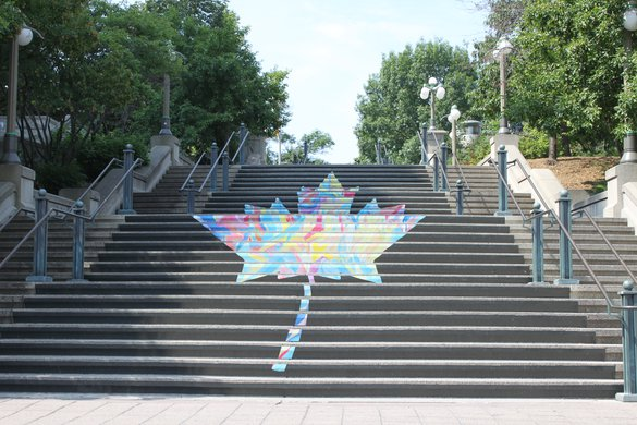 Ottawa canada leaf on steps colorful colourful downtown tourism.JPG