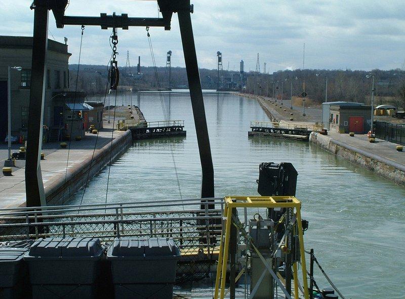 St Catharines wharf canal Welland cranes boat water.jpg