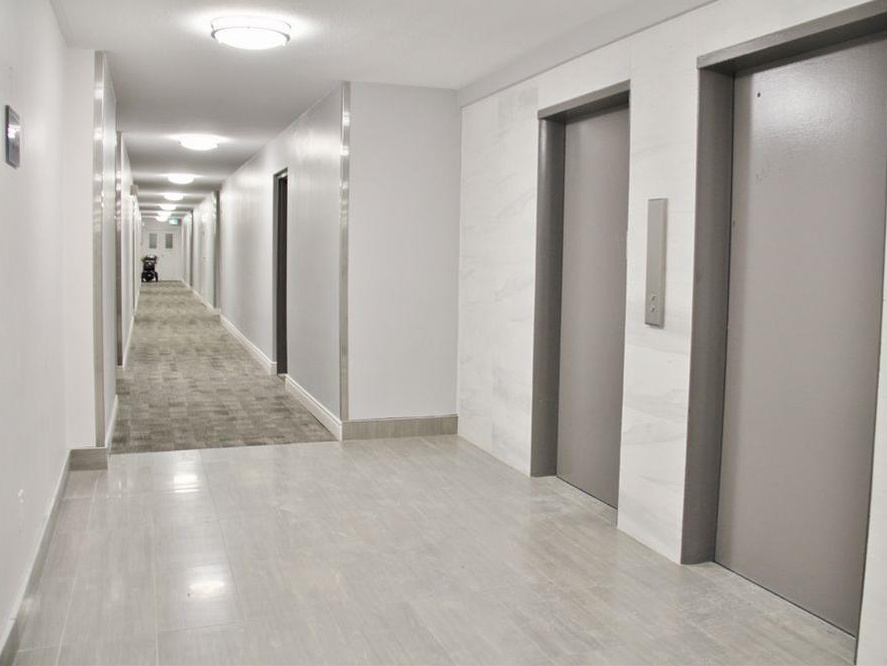 Apartment for rent at 141 Main St S, Brampton, ON. This is the corridor with carpet and hardwood floor.