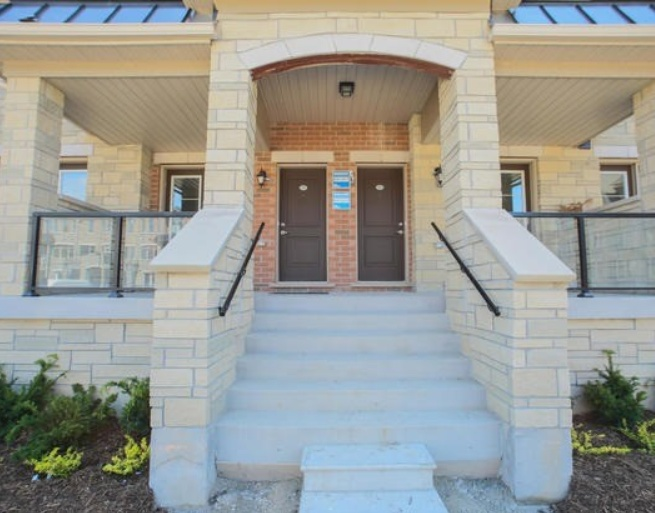 House for rent at 200 Veterans Drive, Brampton, ON in pueblo revival style. This is the front of the house.
