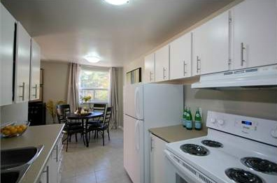 Low-Rise-Apartment for rent at 204 Hespeler Road, Cambridge, ON. This is the kitchen with natural light and tile floor.