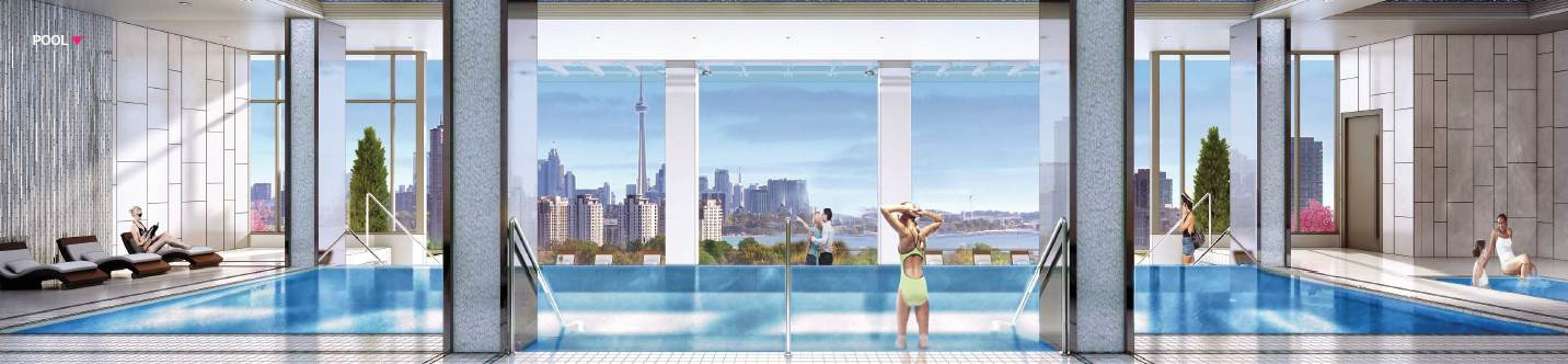 Condo for rent at 17 Zorra St | Unit: Varies, Etobicoke, ON. This is the pool with natural light.