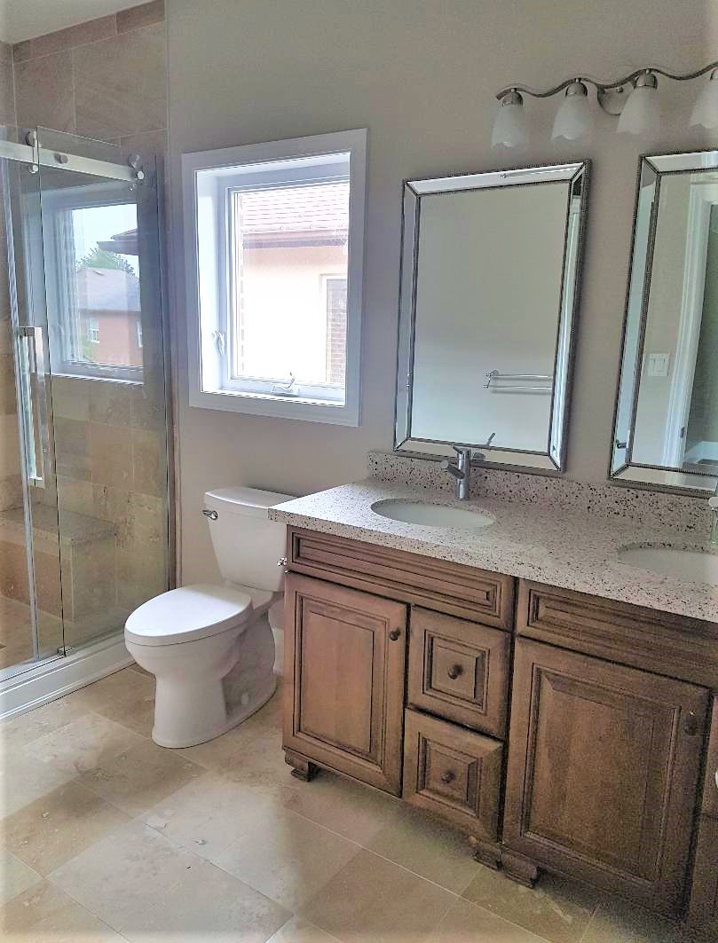 House for rent at 20 Sixth St, Etobicoke, ON. This is the bathroom with natural light and tile floor.