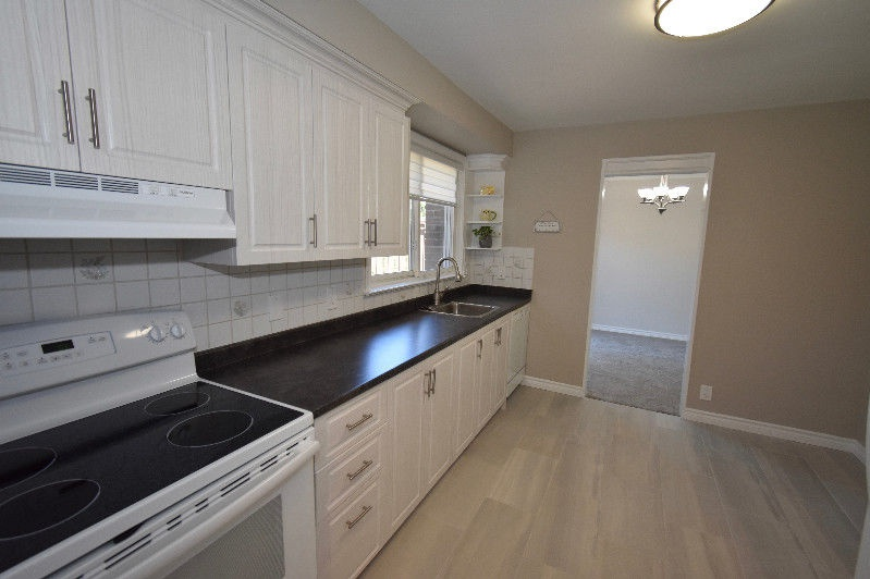 House for rent at 18 Pagebrook Dr, Etobicoke, ON. This is the kitchen with hardwood floor, natural light, stainless steel and carpet.