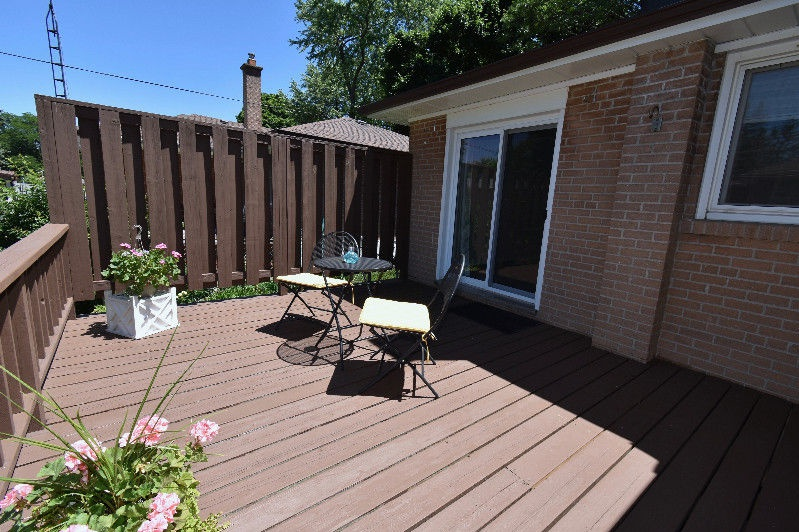 House for rent at 18 Pagebrook Dr, Etobicoke, ON. This is the patio terrace with deck.