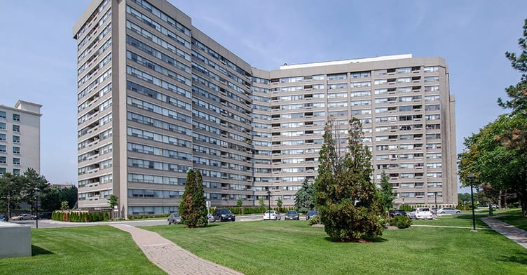 Condo for rent at 475 The West Mall, Etobicoke, ON. This is the outdoor building with lawn.