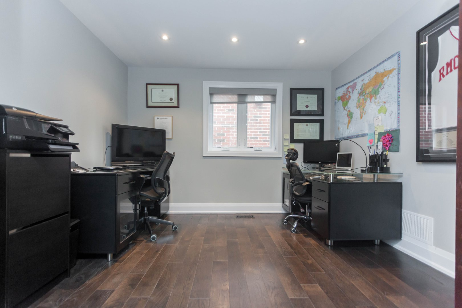 House for rent at 84 Laurel Avenue, Etobicoke, ON. This is the office with natural light and hardwood floor.
