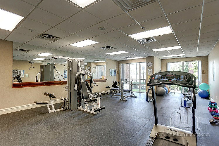 Condo for rent at 11 Michael Power Pl, Etobicoke, ON. This is the gym with carpet and natural light.
