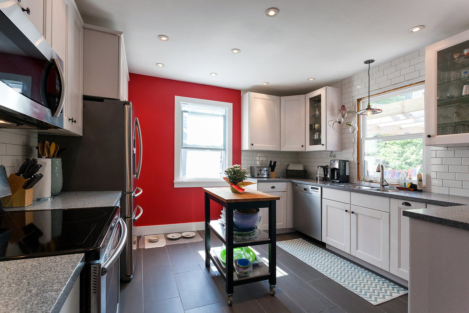 Apartment for rent at 3204 Veith St, Halifax, NS. This is the kitchen with tile floor, stainless steel and natural light.