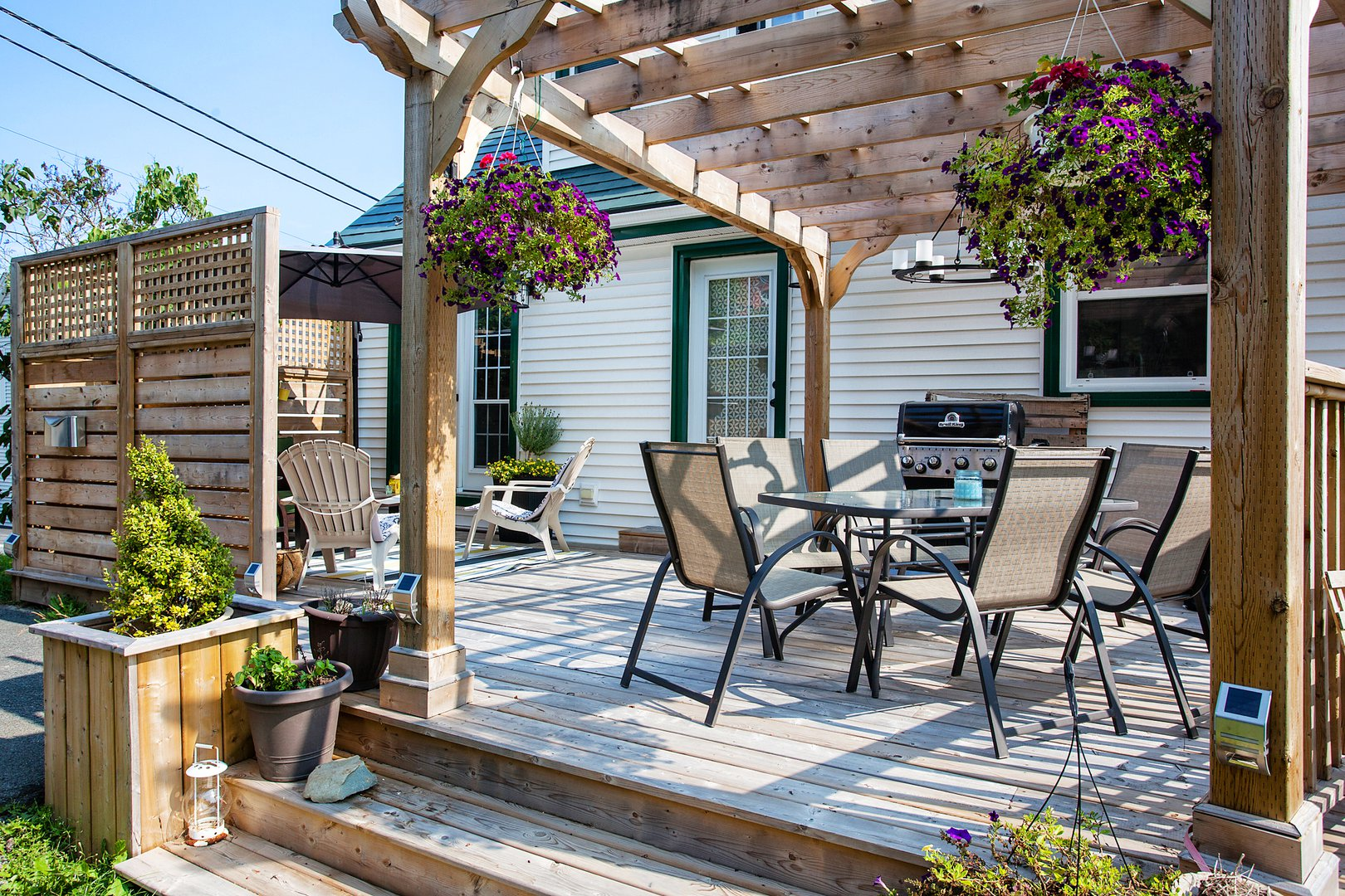 Apartment for rent at 3204 Veith St, Halifax, NS. This is the patio terrace with pergola and deck.