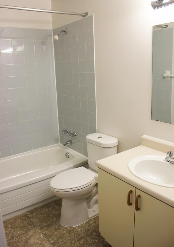 Apartment for rent at 96 Highfield Park Drive, Halifax, NS. This is the bathroom with tile floor.