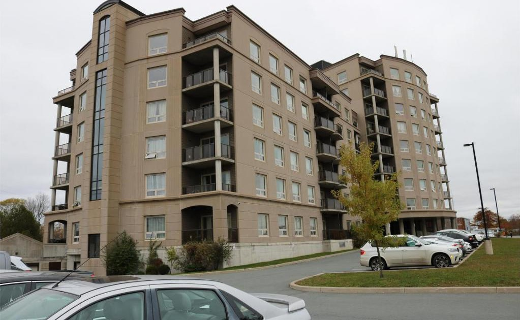 Apartment for rent at 3330 Barnstead Lane, Halifax, NS. This is the outdoor building with lawn.
