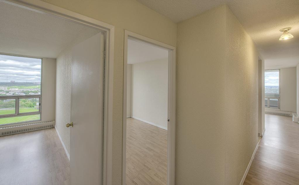 Apartment for rent at 36 Abbey Road, Halifax, NS. This is the corridor with natural light and hardwood floor.