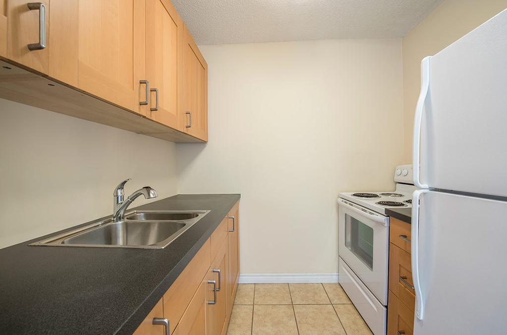 Apartment for rent at 36 Abbey Road, Halifax, NS. This is the kitchen with tile floor.