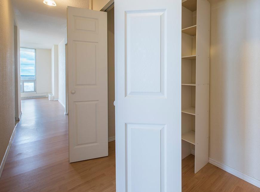 Apartment for rent at 36 Abbey Road, Halifax, NS. This is the walk in closet pantry with natural light and hardwood floor.