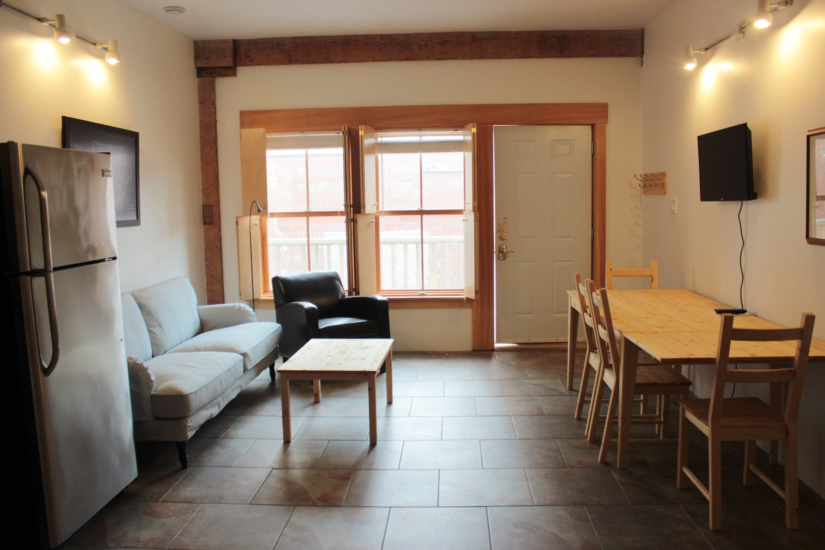 Apartment for rent at 5512 Cornwallis St, Halifax, NS. This is the dining area with tile floor and natural light.