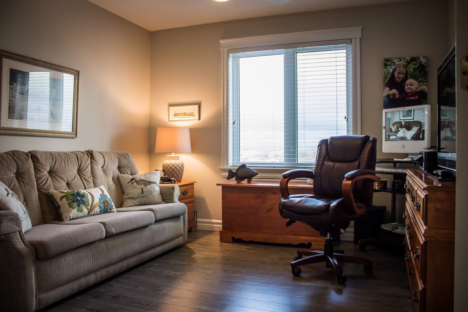 Mid-Rise-Apartment for rent at 747 Coverdale Road, Moncton, NB. This is the office with natural light and hardwood floor.