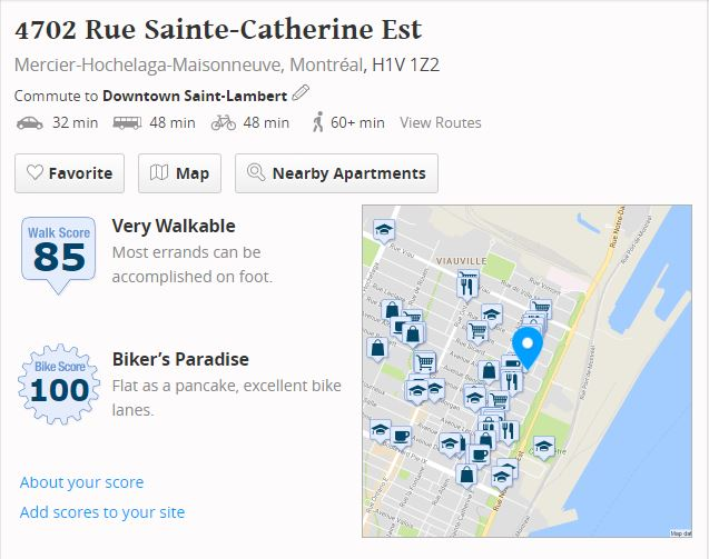 Apartment for rent at 4702 Rue Sainte-Catherine E, Montréal, QC. This is the map location.