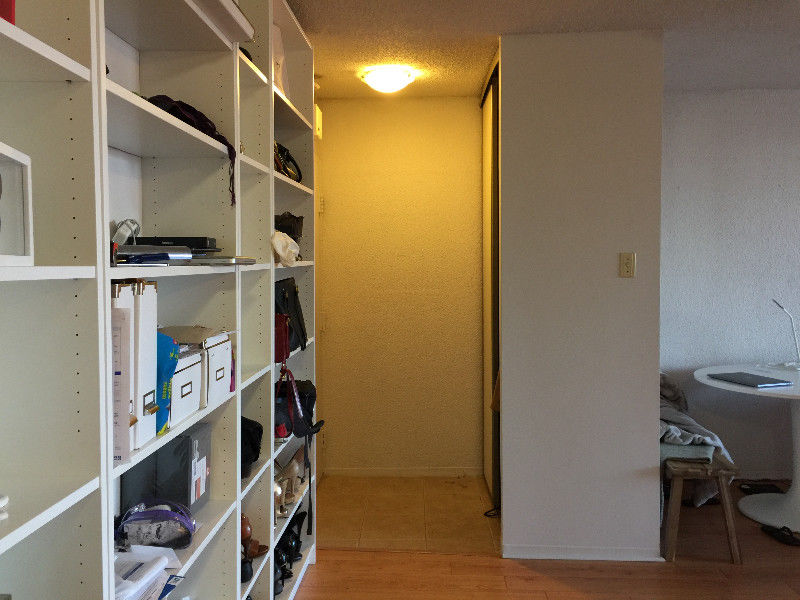 Apartment for rent at 3550 Rue Jeanne-Mance, Montréal, QC. This is the walk in closet pantry with hardwood floor.