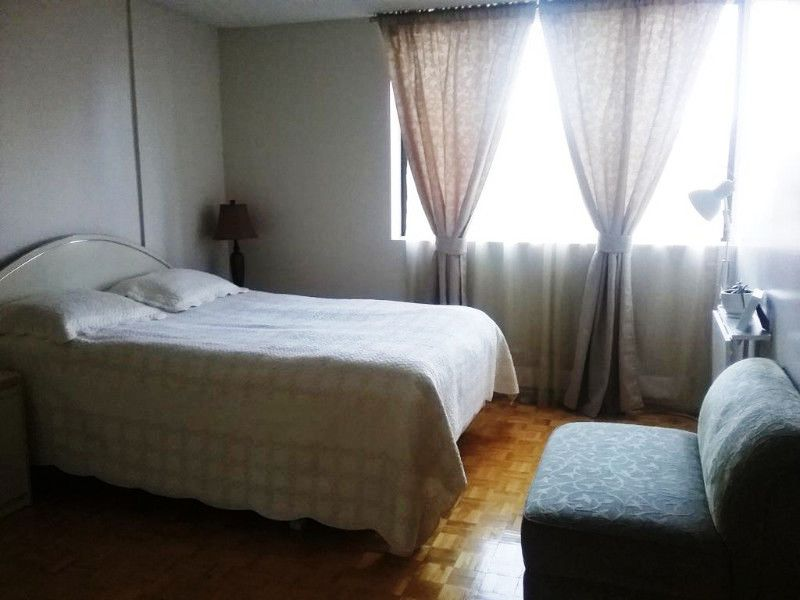 Apartment for rent at 10500, Acadie, Montréal, QC. This is the bedroom with hardwood floor and natural light.