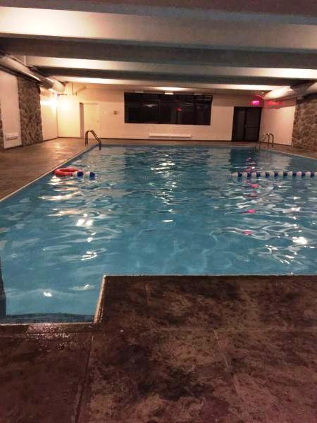 Apartment for rent at 10500, Acadie, Montréal, QC. This is the pool with beamed ceiling and pool.