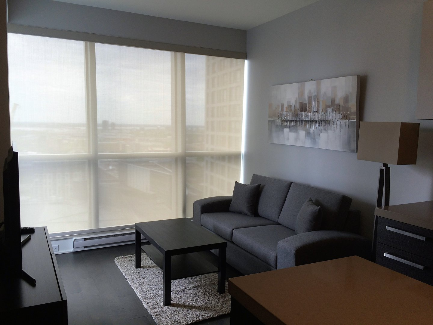 Condo for rent at 1050 Rue Drummond, Montréal, QC. This is the living room with hardwood floor and natural light.