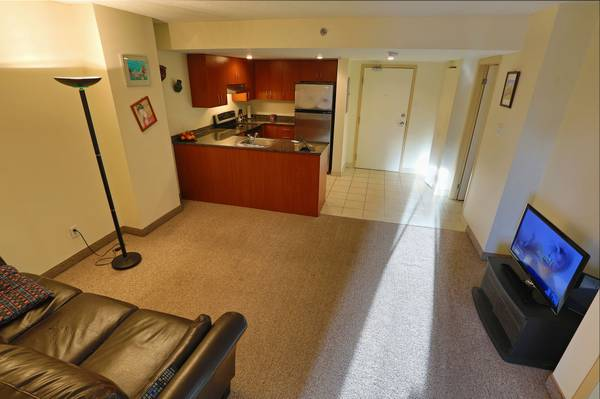Condo for rent at 88 Rue Charlotte, Montréal, QC. This is the kitchen with tile floor, stainless steel and carpet.