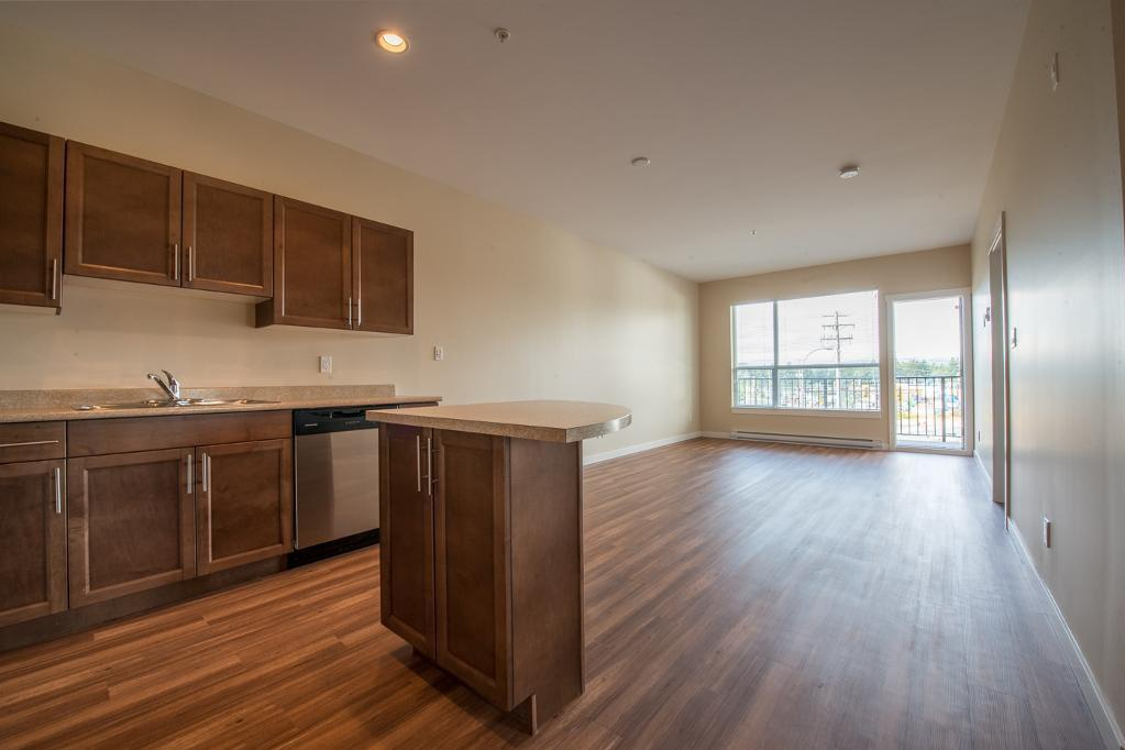 Bachelor for rent at 1820 Summerhill Place, Nanaimo, BC. This is the kitchen with natural light, stainless steel, kitchen island, hardwood floor and vaulted ceiling.