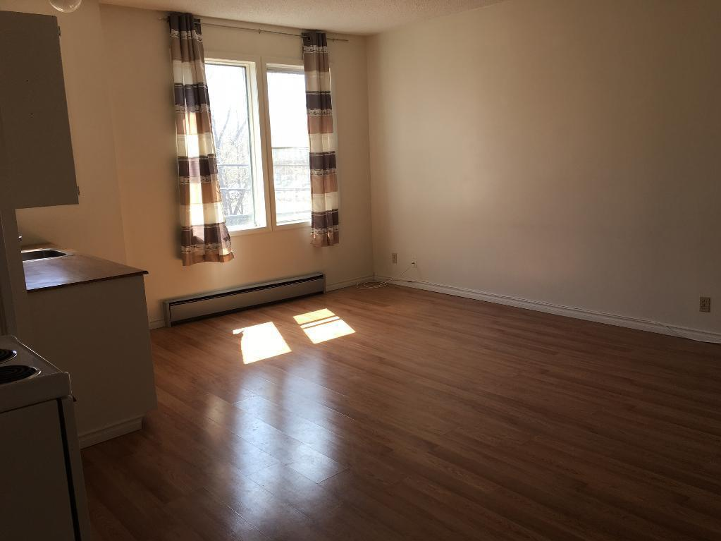 Apartment for rent at 1503 Victoria Ave, Regina, SK. This is the empty room with natural light and hardwood floor.