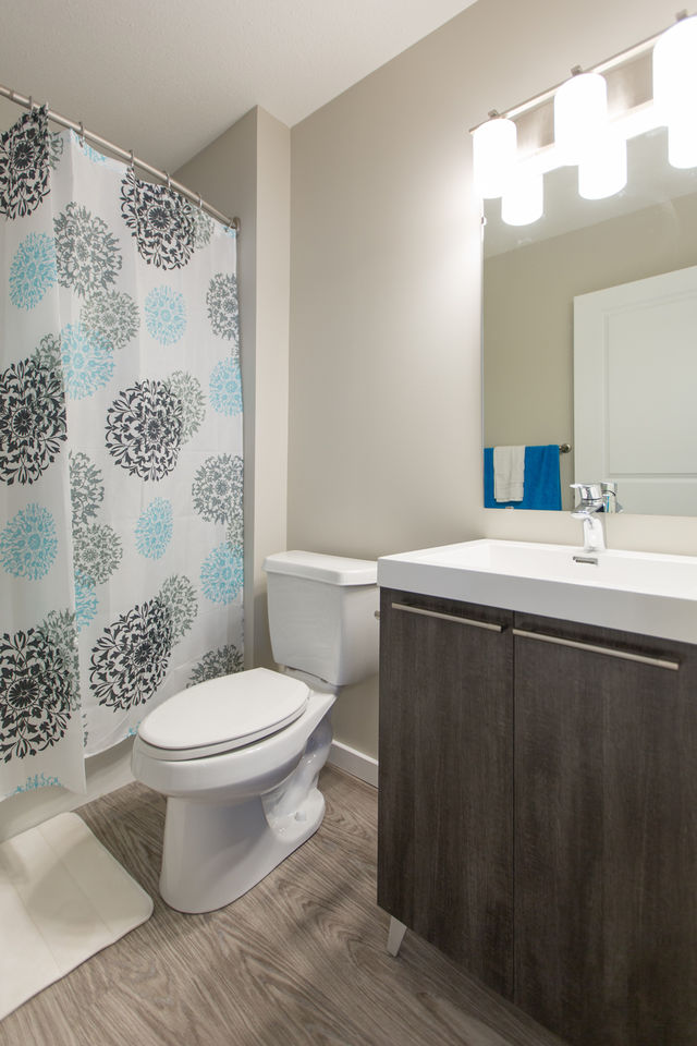 Apartment for rent at 4830 Gordon Rd, Richardson, SK. This is the bathroom with hardwood floor.