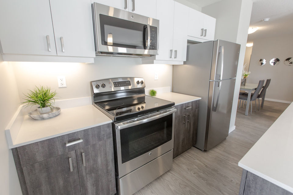 Apartment for rent at 4830 Gordon Rd, Richardson, SK. This is the kitchen with hardwood floor and stainless steel.