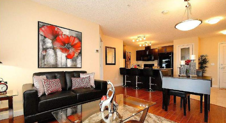 Apartment for rent at 4 & 6 Augustine Crescent, Sherwood Park, AB. This is the living room with hardwood floor.