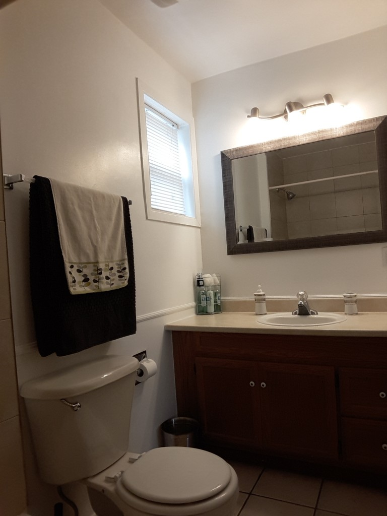 Apartment for rent at 229 Hannah St, Vanier, ON. This is the bathroom with natural light and tile floor.