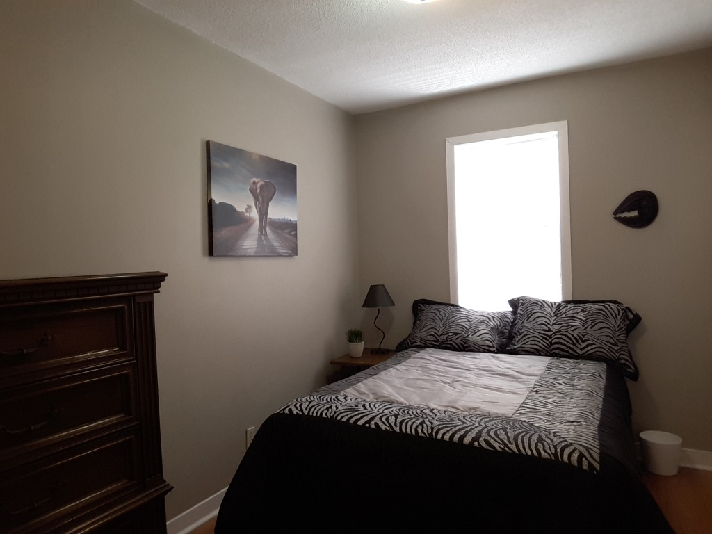 Apartment for rent at 229 Hannah St, Vanier, ON. This is the bedroom with natural light and hardwood floor.