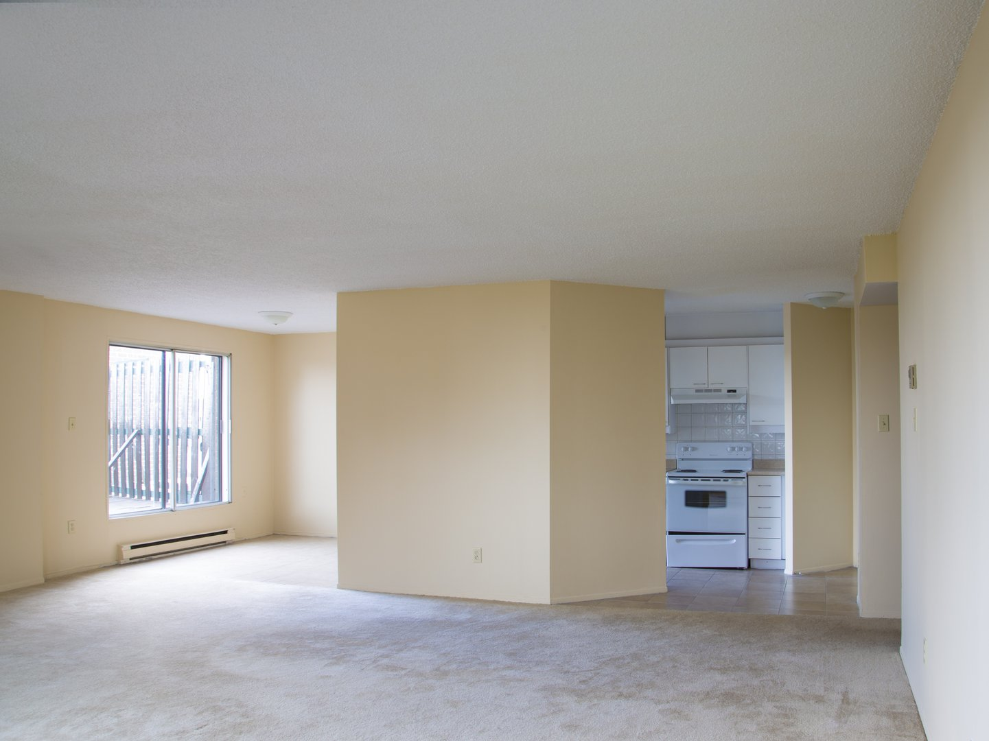 High-Rise Apartment for rent at 50 Quintin, suite 111, Ville Saint-Laurent, QC. This is the empty room with natural light and carpet.