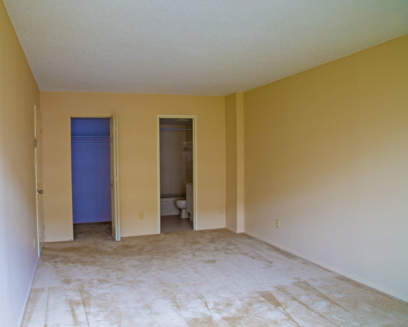 High-Rise Apartment for rent at 50 Quintin, suite 111, Ville Saint-Laurent, QC. This is the empty room with vaulted ceiling and carpet.