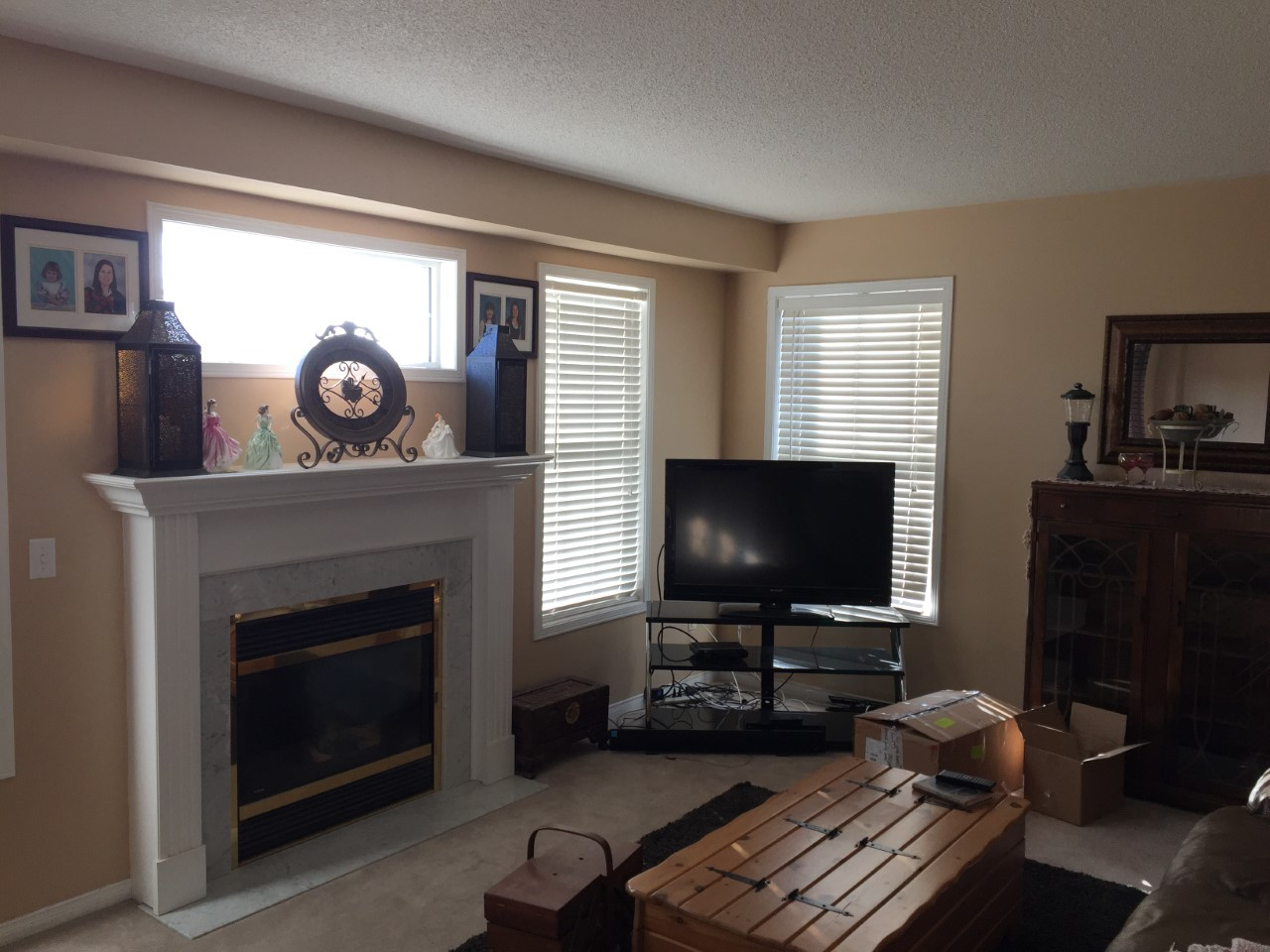 Apartment for rent at 11 Medland Ave, Whitby, ON. This is the living room with carpet, fireplace and natural light.