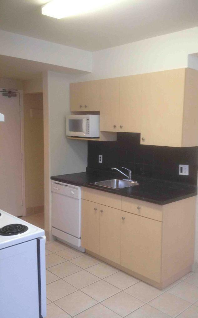 Apartment for rent at 205 St Anthony Avenue, Winnipeg, MB. This is the kitchen with tile floor, microwave and dishwasher.
